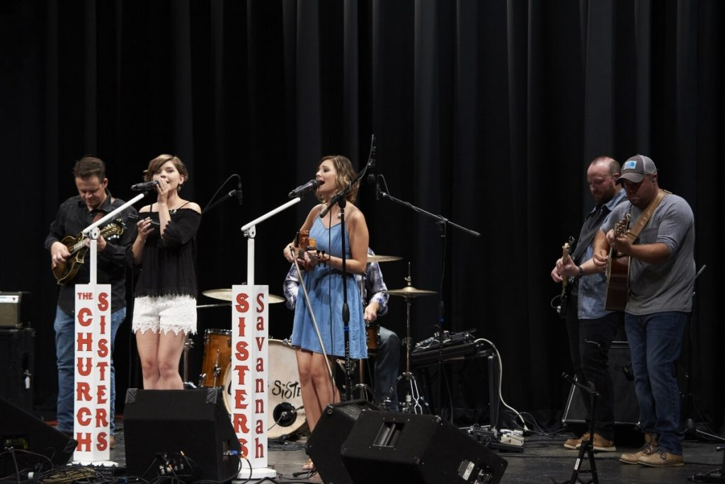 The Church Sisters performing on stage at The Lincoln Theatre in Smyth County VA for Song of the Mountains