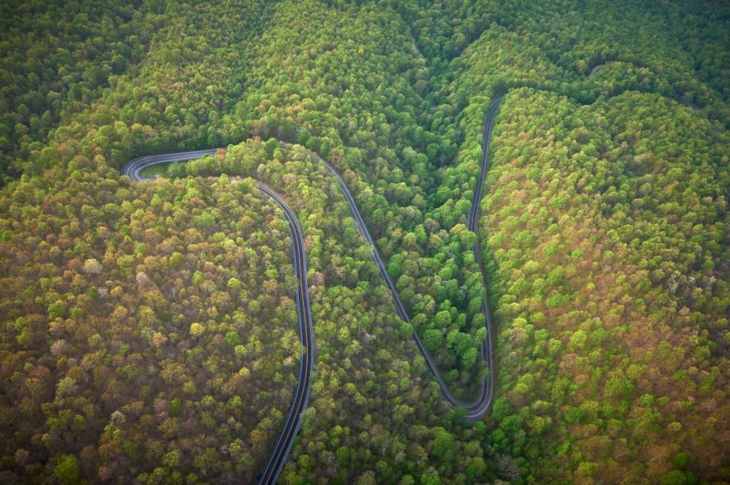 Aerial photo of Back of the Dragon scenic drive in Smyth County VA